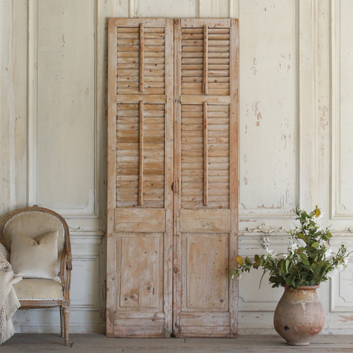 Pair of Vintage Lilac Wooden Shutters AEVM78054