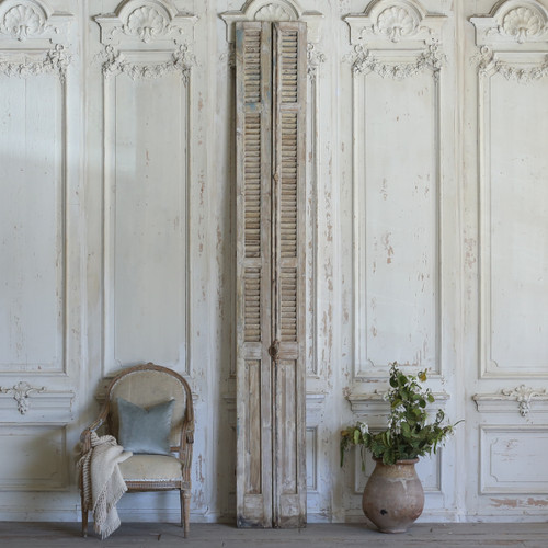 Pair of Vintage Skinny Wooden Shutters with Grey Paint AEVM78073