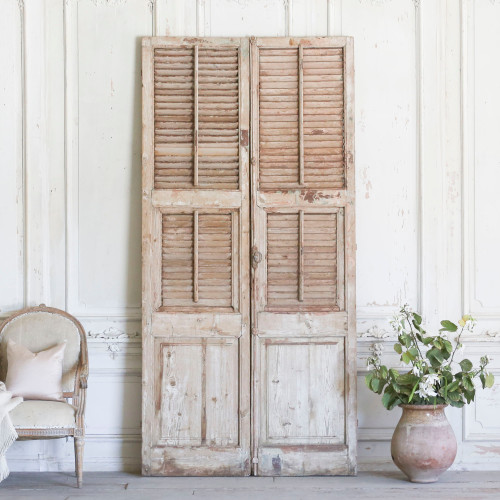 Pair of Vintage Wide Wooden Shutters AEVM78078