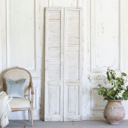 Pair of Vintage Whitewashed Shutters AEVM78081