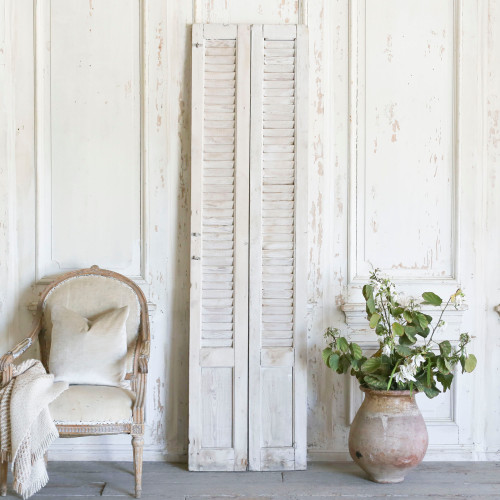 Pair of Vintage Whitewashed Shutters AEVM78086