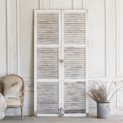 Pair of Vintage White Shutters AEVM78087
