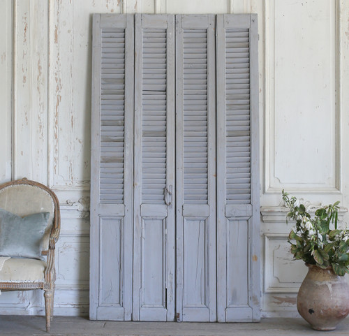 Set of Four Vintage Blue-Grey Shutters AEVM78038