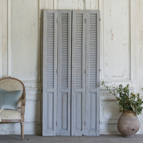 Set of Four Vintage Blue-Grey Shutters AEVM78043