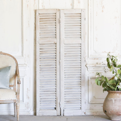 Pair of Vintage Grey Shutters AEVM78082