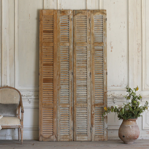 Set of Four Vintage Wooden Shutters with Grey Paint AEVM78059