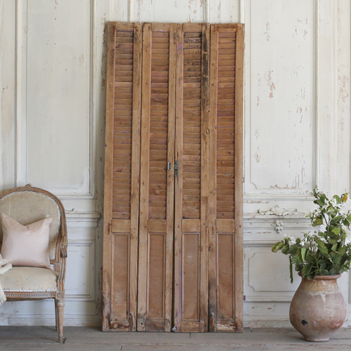 Set of Four Vintage Skinny Wooden Shutters AEVM78061