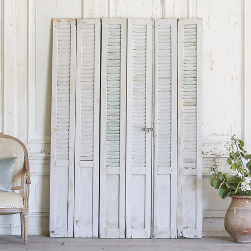 Set of Six Vintage Whitewashed Shutters AEVM78077