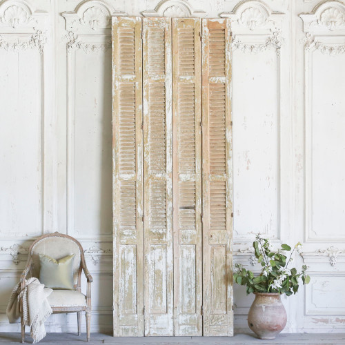 Set of Four Vintage Skinny Tall Wooden Shutters AEVM78083