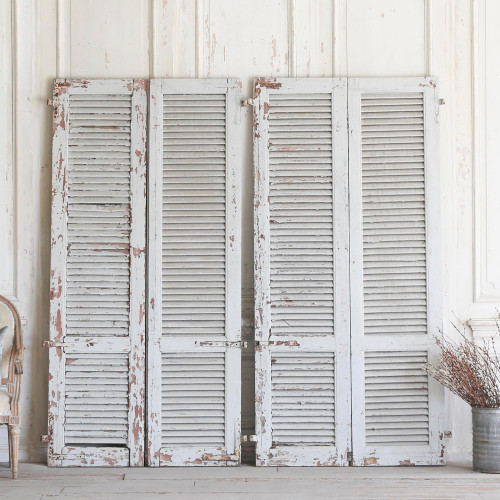 Set of Four Vintage Heavily Weathered Grey Shutters AEVM78092