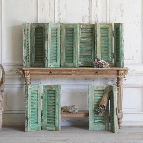 Set of 12 Petite Vintage Green Shutters AEVM60063-1