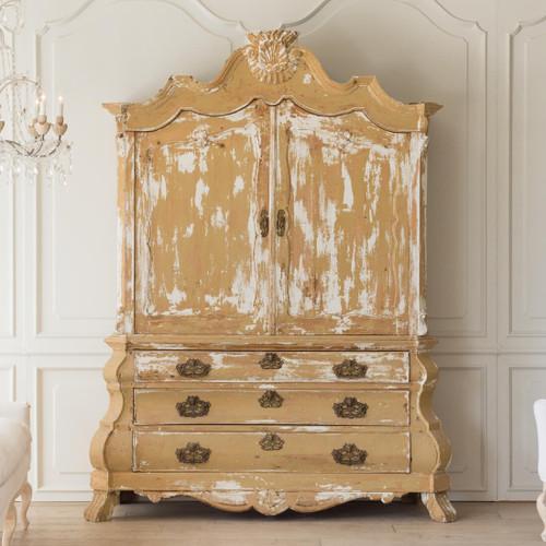 Antique Dutch Linen Press Cabinet CBVN26017