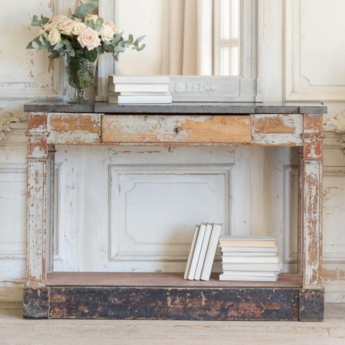 Antique Console with Black Marble Top CSVN26018