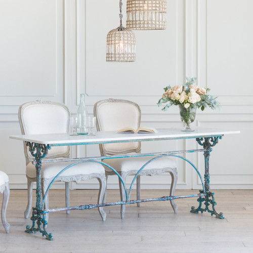Antique Long Bistro Table in Teal TVN26021