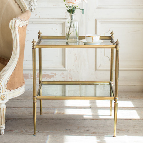 Vintage Mid-Century Modern Glass Side Table TSVN26026