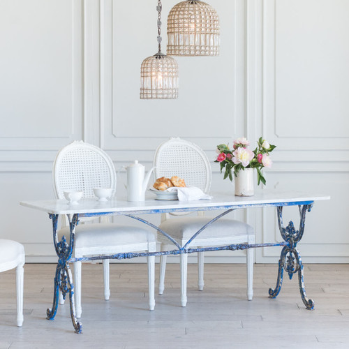 Antique Long Bistro Table in Blue TVN26027