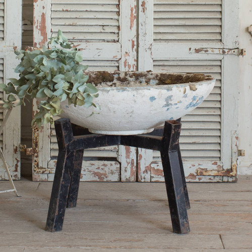 Vintage Cement Planter and Stand GDVN26028-3