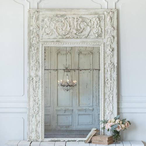 Antique White Trumeau Mirror MVN26033