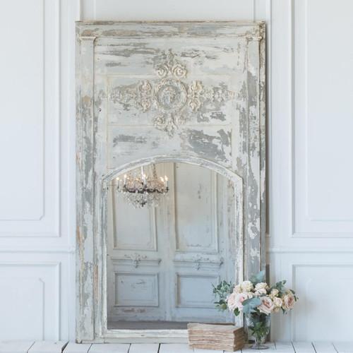 Antique Powder Blue Trumeau Mirror MVN26039