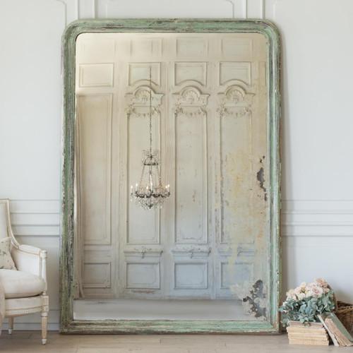 Antique Grande Louis Philippe Mirror in Green MVN26044