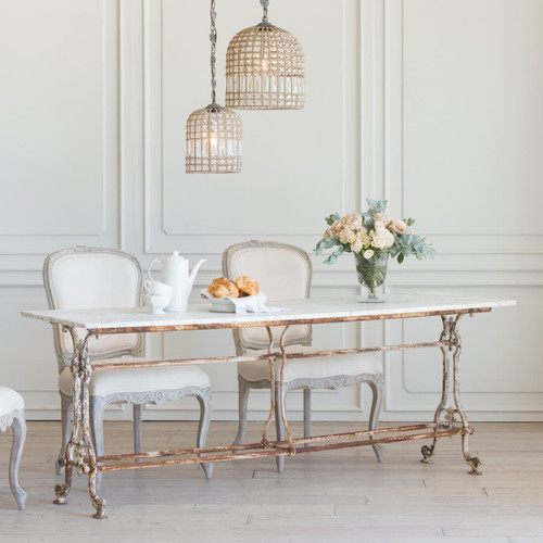 Antique Long Whitewash Bistro Table TVN26052