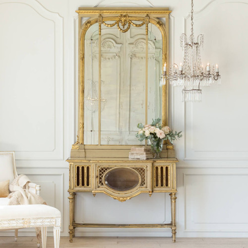 Antique Neoclassical Console with Mirror CSVN26056