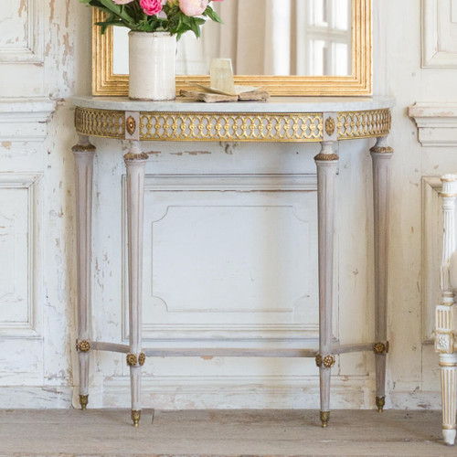 Petite Antique Console with Marble Top CSVN26084