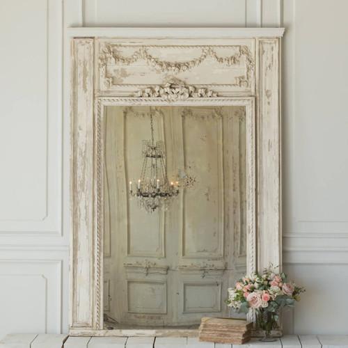 Antique Whitewash Trumeau Mirror MVN26090
