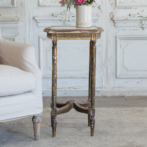 Tall Antique Side Table in Weathered Gilt TSVN26093