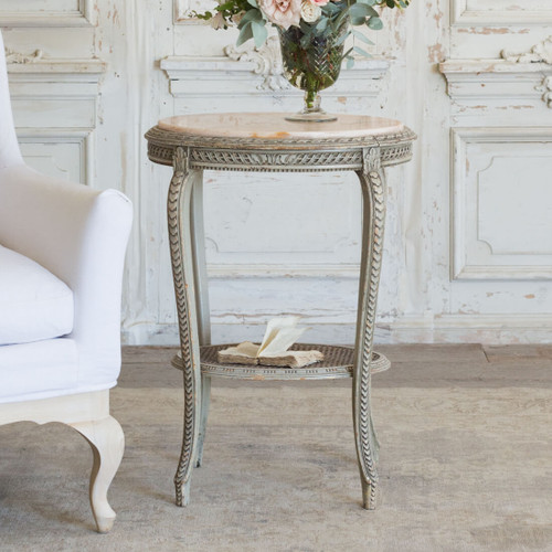 Antique Side Table with Pink Marble TSVN26094