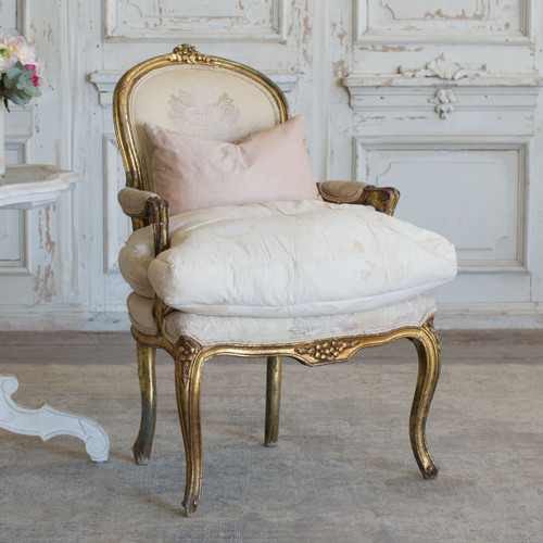 Petite Antique Armchair with Original Silk Upholstery AVN26096