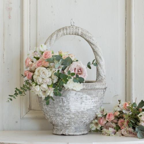 Vintage Cement Basket Planter GDVN26103