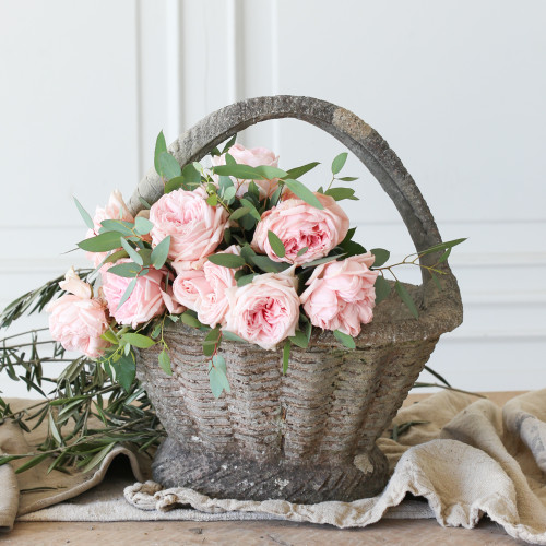 Vintage Cement Basket Planter GDVP22015