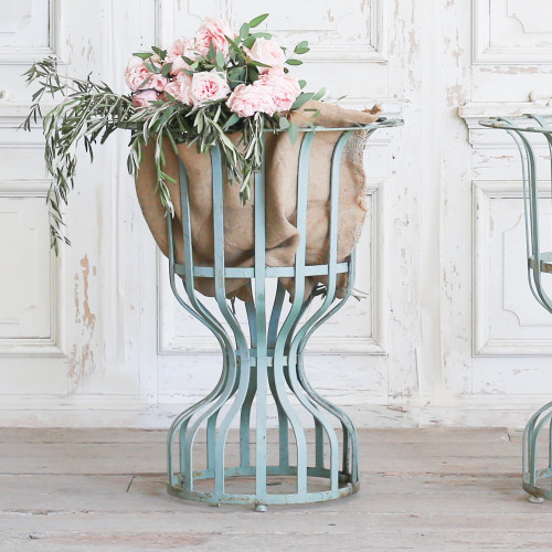 Pair of Antique Green Metal Planter Stands OBVP22039
