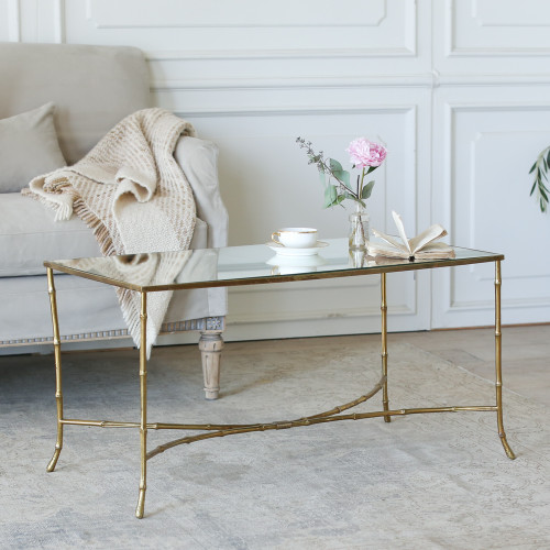 Vintage Brass and Mirror Bamboo Style Coffee Table TCVP22043