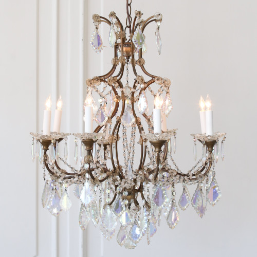 Pair of Vintage Chandeliers with Iridescent Crystals CHVN26076