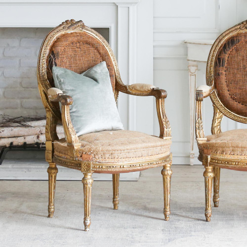 Pair of Antique Gilt Armchairs AVN27011-2