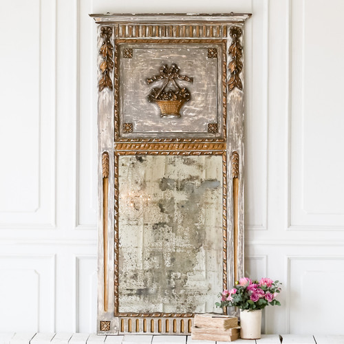 Antique Slate Grey Trumeau Mirror MVN27013
