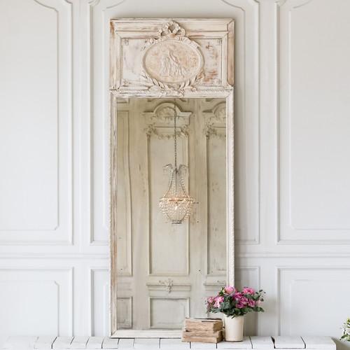 Antique Skinny White Trumeau Mirror MVN27034