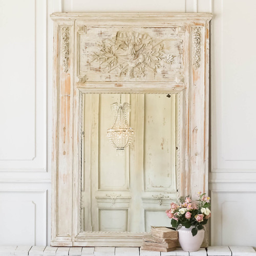 Antique White and Taupe Trumeau Mirror MVN27040