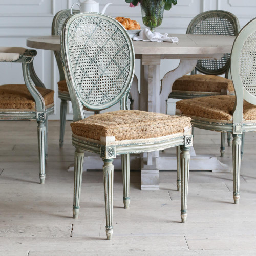 Set of 6 Green Louis XVI Dining Chairs DCVN27058