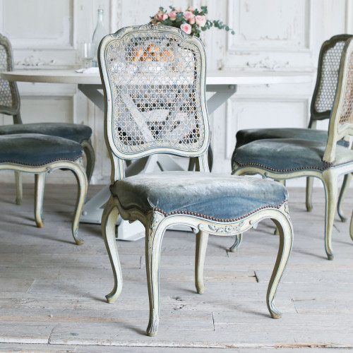 Set of 6 Green Louis XV Dining Chairs DCVN27060