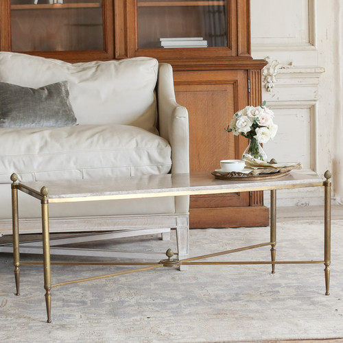 Vintage Brass and Stone Coffee Table TCVN22040