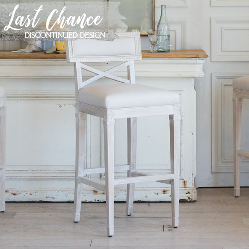 Eloquence® La Belle Fleur Bar Chair in Aged Beige Leather and Worn Oak Finish