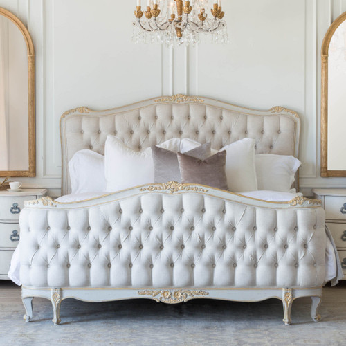 Eloquence® Sophia Bed in Fog Linen and Gold Two-Tone Finish