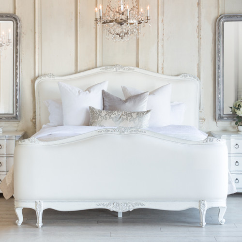 Eloquence® Sophia Bed in White Linen and Silver Two-Tone Finish in a French Style Bedroom