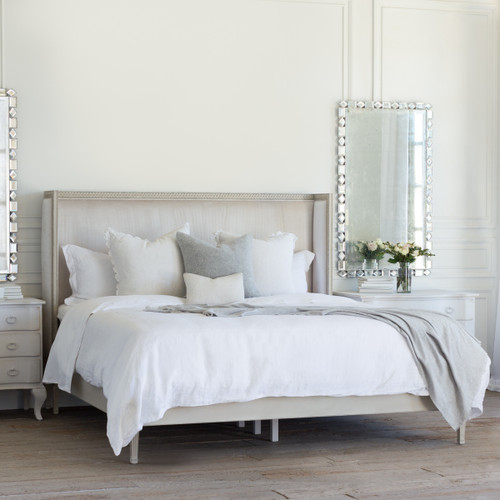 Eloquence® Cassia Antique Reproduction Bed in Dove Velvet and Antique Grey Finish with the Eternity Mirror