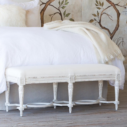 Eloquence® Queen Constance Bench in White Linen and Weathered White Finish in a French Style Bedroom