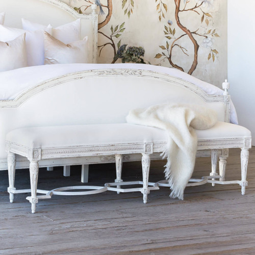 Eloquence® King Constance Antique Reproduction Bench in White Linen and Weathered White Finish in a French Style Bedroom with the Dauphine Bed