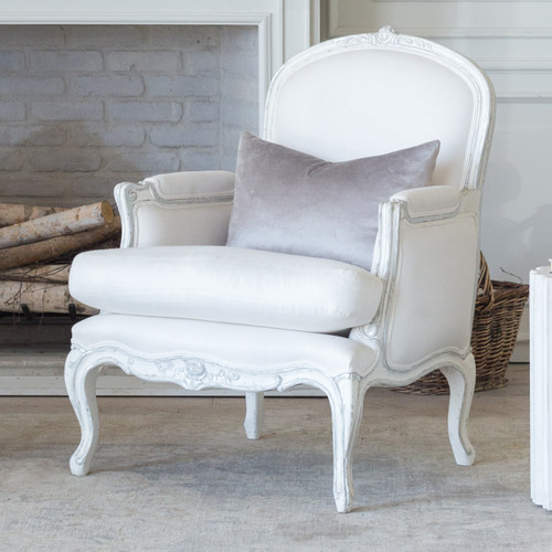 Eloquence® La Belle Bergere in White Linen and Silver Two-Tone Finish